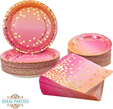 150 PCS Pink to Coral with Gold Dots Plates and Napkins Set 150 PCS - Dinner, dessert plates and napkins for Party, Bachelorette, Birthday, Baby shower, Wedding Shower and more! (Pink to Coral Ombre)