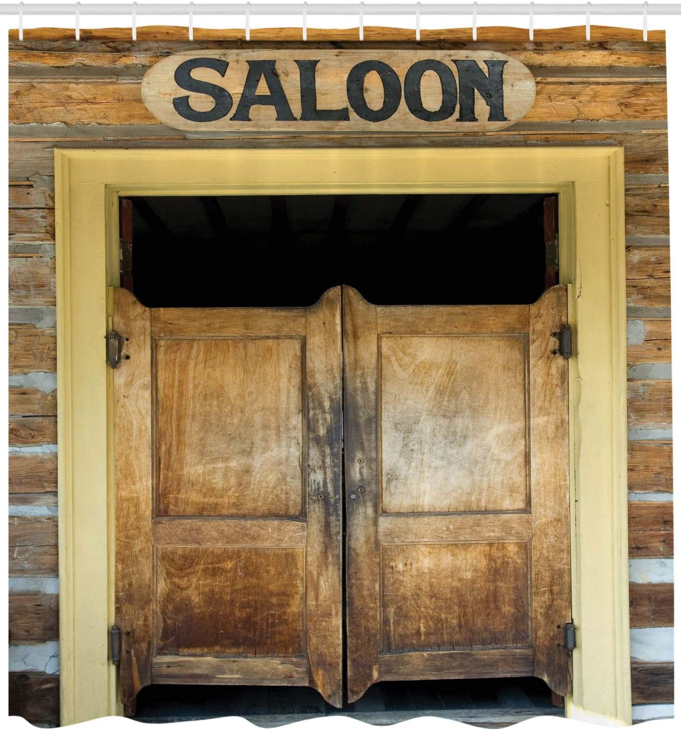 """Western Style Town Bar Door Shower Curtain Bathroom Decor Fabric /& 12hooks 71/"""""""