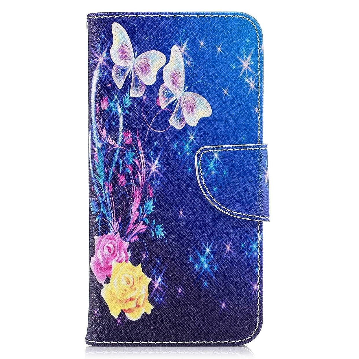 ブロッサム省ハチOMATENTI LG Q8 ケース, ファッション人気 PUレザー 手帳 軽量 電話ケース 耐衝撃性 落下防止 薄型 スマホケースザー 付きスタンド機能, マグネット開閉式 そしてカード収納 LG Q8 用 Case Cover, バタフライ-2