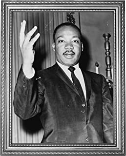 """Dr. Martin Luther King, Jr. Photograph in a Silver Ornate Frame - Historical Artwork from 1964 - (11"""" x 14"""") - Semi-Gloss"""