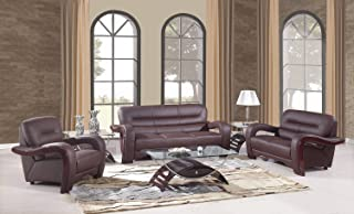 Blackjack Furniture 992 Charles Collection Leather Match Upholstered Modern Living Room, Chair, Loveseat, Sofa, Brown