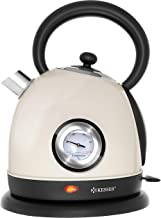 KESSER Wasserkocher Edelstahl | 2200W | BPA frei | 1,8 Liter | Retro Design | Überhitzungsschutz | Teekocher Teekessel Kocher | Cool-Touch-Griff | kabellos | Temperaturanzeige | Beige