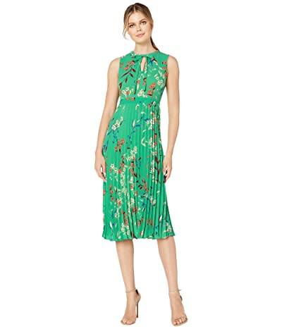 Donna Morgan Sleeveless Pleated Crepe Dress (Kelly Green/Azure Blue Multi) Women