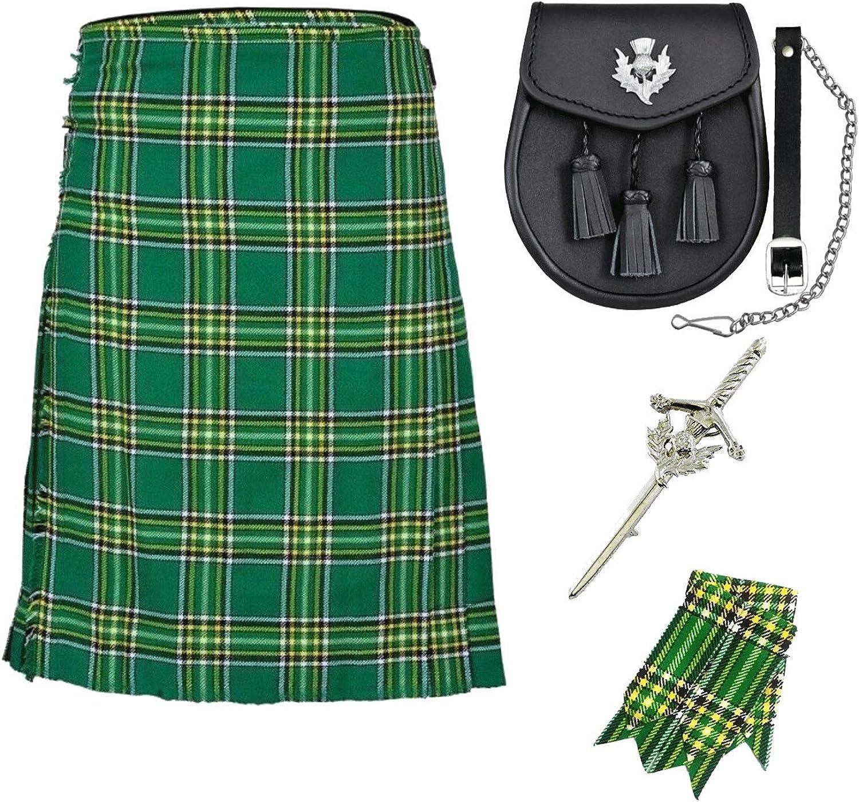 UFS Scottish Irish National Tartan Kilt Utility Kilts for Men with Free Flashes & Pin Sporran 8 Yard (30'' to 60'')'