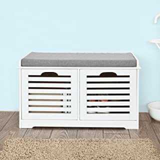 Haotian White Storage Bench with 2 Drawers & Removable Seat Cushion, Shoe Cabinet Shoe Bench, FSR23-K-W