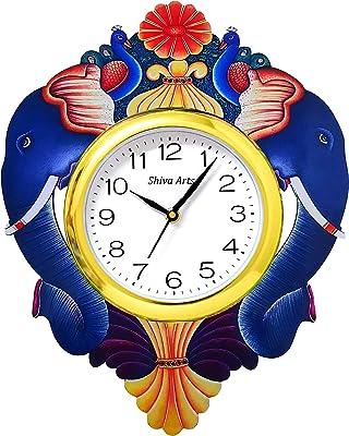 SHIVA ARTS Handpainted UV Printed Double Elephant Enelgant Stylish Wooden Wall Clock for Home/Ofice/Gifts (38X30 cm)