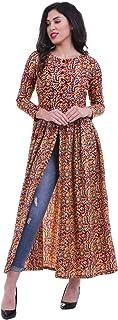ROZVEH Women's Kalamkari Print Front High Slit Maxi Dress