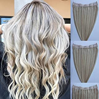 20 inches 100% Human Hair Extensions,100 Grams, Halo Style ONE PIECE NO CLIP with an adjustable invisible wire Fishing Str...