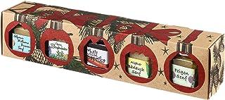Puntzelhof Weihnachts Genuss-Box – Feinkost Geschenk-Set: 4x Feinkost-Senf Bergkräuter, Bärlauch, Feigen, Birnen & 1x Chili-Paprika-Gelee in der Geschenkbox als Weihnachtsgeschenk