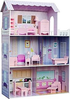 Teamson dockhus för barn, trä, rosa