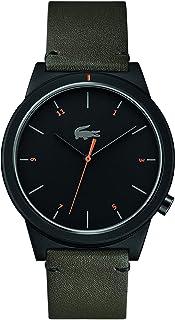 ساعة موشن بسوار جلدي ومينا باللون الاسود من لاكوست للرجال طراز 2010991