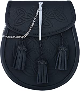 Embossed Black Leather Scottish Kilt Sporran With Pin Lock & Tassels
