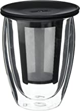Bodum One Tea Strainer with Pavina Double Wall Glass Set, 12 Oz, Black