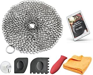 KitchWhiz (6-in-One + eBook) Cast Iron Cleaner XL, Premium Stainless Steel Chainmail Cirle With Bonus Iron Skillet Handle ...