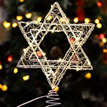 Star of David Hanukkah Christmas Rattan Tree Topper with Warm White LED String, Wire Weaving, Battery Powered, 7'' Star Tr...