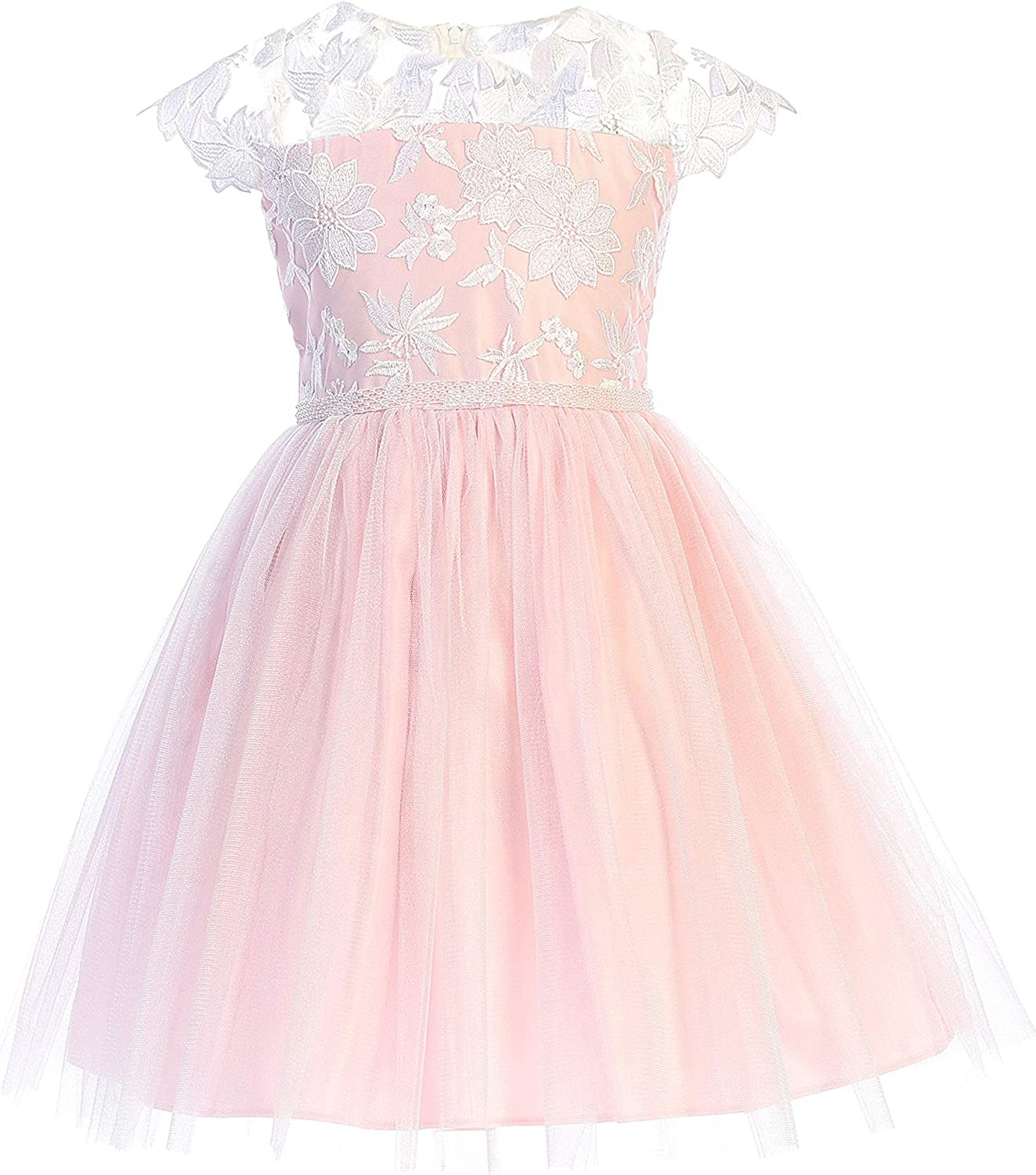 Sweet Kids Girls' Floral Embroidered Lace with Crystal Tulle Dress