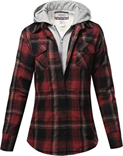 Awesome21 Women's Casual Plaid Long Sleeves Button-Down Hoodie Flannel