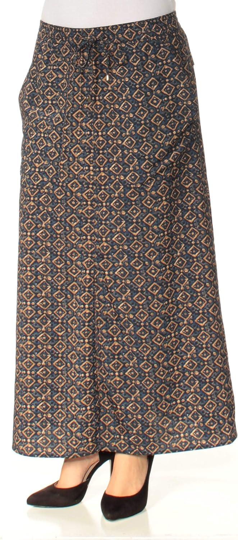 Ralph Lauren Womens Navy Pocketed Printed Maxi Skirt Size S