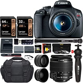 Canon EOS Rebel T7 DSLR Travel Bundle with 58mm 2X Telephoto, Wide Angle Lens + Two Lexar 633x 64GB Video Memory Cards + C...