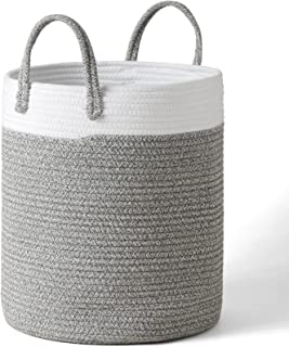 """LA JOLIE MUSE 16"""" Large Cotton Rope Woven Basket with Handles, Organization and Storage Bin, Natural and Safe for Baby Kid..."""