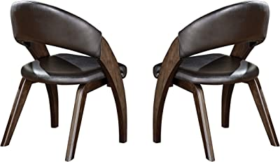 Homelegance Onofre Modern Dining Chairs with Bi-Cast Vinyl Contour Back and Seat (Set of 2), Brown