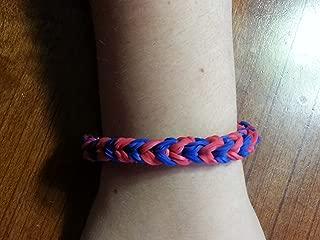 Rainbow Loom Bracelet Triple Fishtail Style - Blue and Red (Ne Patriots Colors)