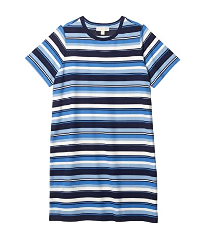 MICHAEL Michael Kors Plus Size Court Stripe Tee Dress (Chambray) Women