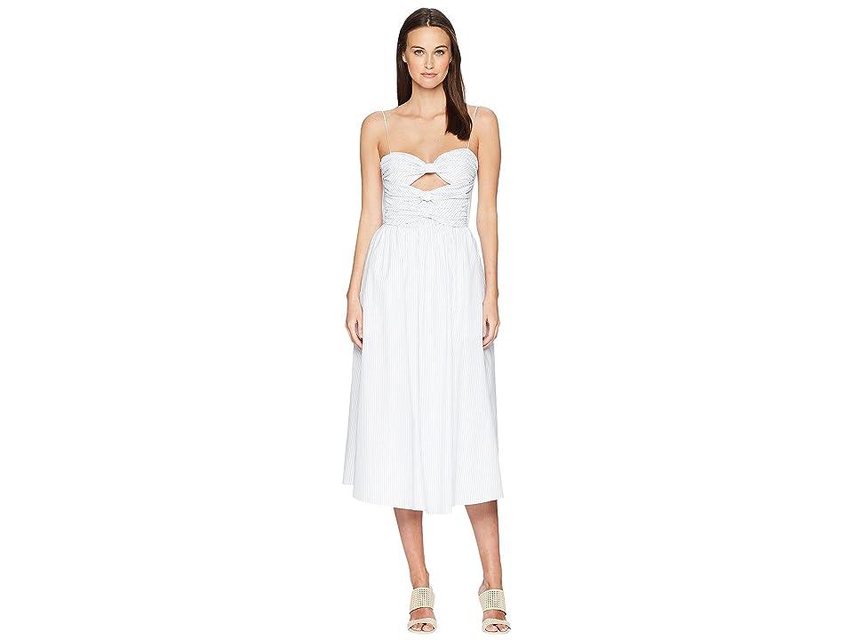 Adam Lippes Striped Cotton Cami Dress w/ Knotted Bodice (White/Blue) Women