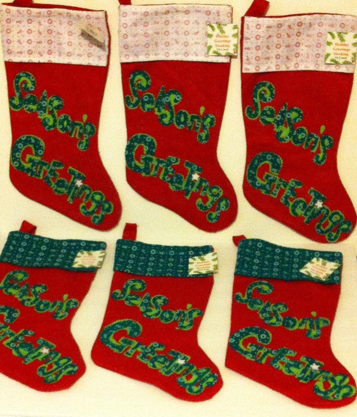 体細胞効果的ダーベビルのテスバンドルの6?Holiday Felt stockings- 3?Red Stockings withグリーンカフス、3?Reds Stockings withホワイト袖口、すべてのwithグリーン