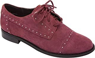 c723f560b86bd Jaden | Micro Stud Lace Up Oxford Flat Suede Menswear Shoe Comfortable  Padded Arch Support (