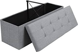 SONGMICS Folding Storage Ottoman Bench Storage Chest Foot Rest Stool with Metal Support, Holds up to 660lb, Light Grey ULSF77G