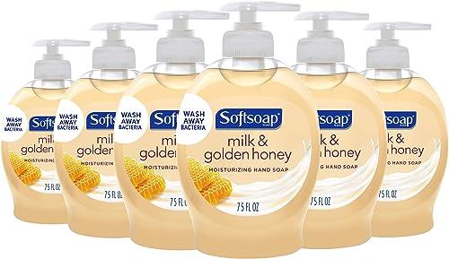 Softsoap Moisturizing Liquid Hand Soap, Milk and Honey - 7.5 Fluid Ounce (6 Pack)