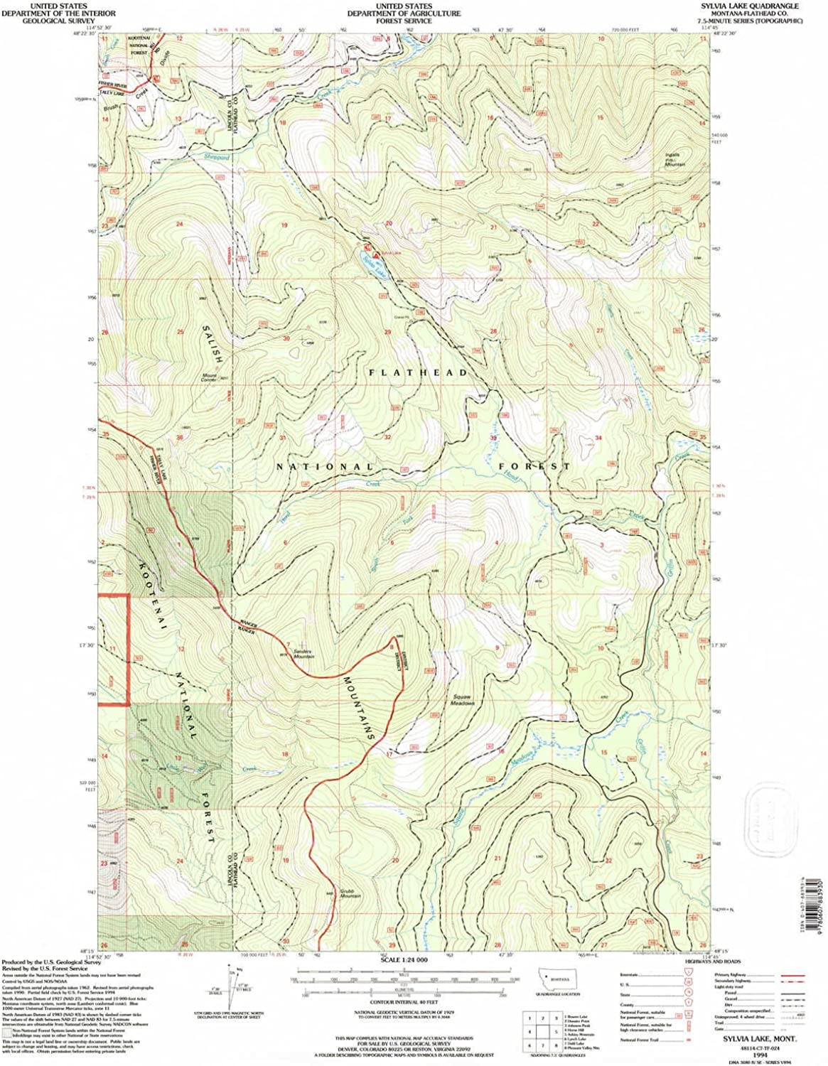 Sylvia Lake MT topo map, 1 24000 Scale, 7.5 X 7.5 Minute, Historical, 1994, Updated 1997, 27.1 x 22.2 in