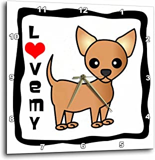 3dRose LLC I Love My Chihuahua Tan 10 by 10-Inch Wall Clock