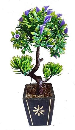 HYPERBOLES Bonsai Artificial Flower for Home Decor Artificial Plant with Pot Anthurium Flowers- Small - 10 Inch (Blue)