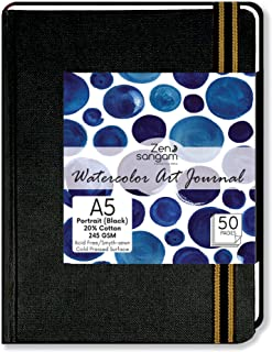 Zen Sangam Portrait A5 Artists' Watercolor Journal - 25 Sheets(50 Pages) - 245GSM 20% Cotton Cold Pressed Watercolour Pape...