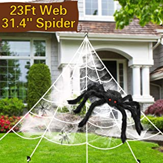 Halloween Decorations Spider Web Triangular Mega Outdoor Graveyard Decor Stretch Cobweb Set Scary Props Shooter with Giant Black Spider
