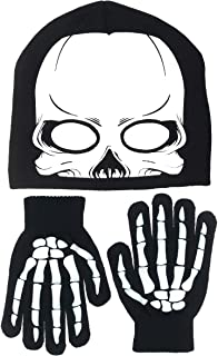 Boy's Skeleton Knit Beanie with Eye Holes & Glove Set