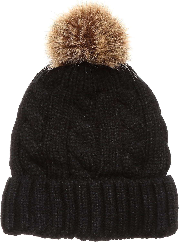 MIRMARU Women's Thick Warm Chunky Cable Knitted Pom Pom Beanie Hat
