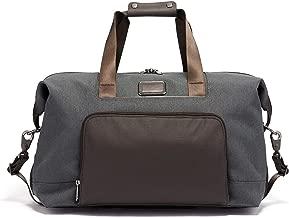 grey leather duffle bag