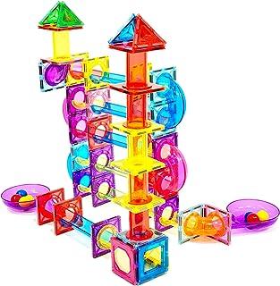 Magnescape 109 pcs Magnetic Tiles Marble Run Ball Run Building Construction Toys Educational Fun Creative STEM Toys Best G...