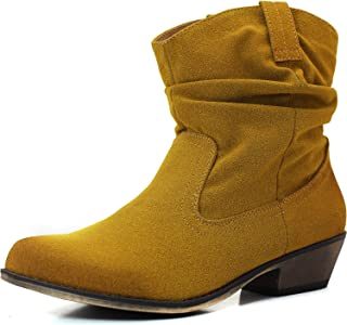 Qupid Women's Trio-01 Fashion Ankle High Bootie Western Cowboy Riding Boots