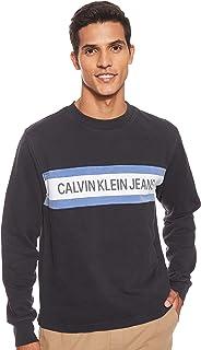 CALVIN KLEIN Jeans Men's Institutional Logo Stripe Crew Neck Sweater