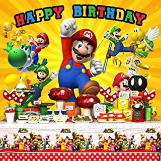 Super Mario Backdrop, Super Mario Background,Super Uncle Bros with Mushrooms Photography Background Cartoon Kids Children Birthday Party Banner