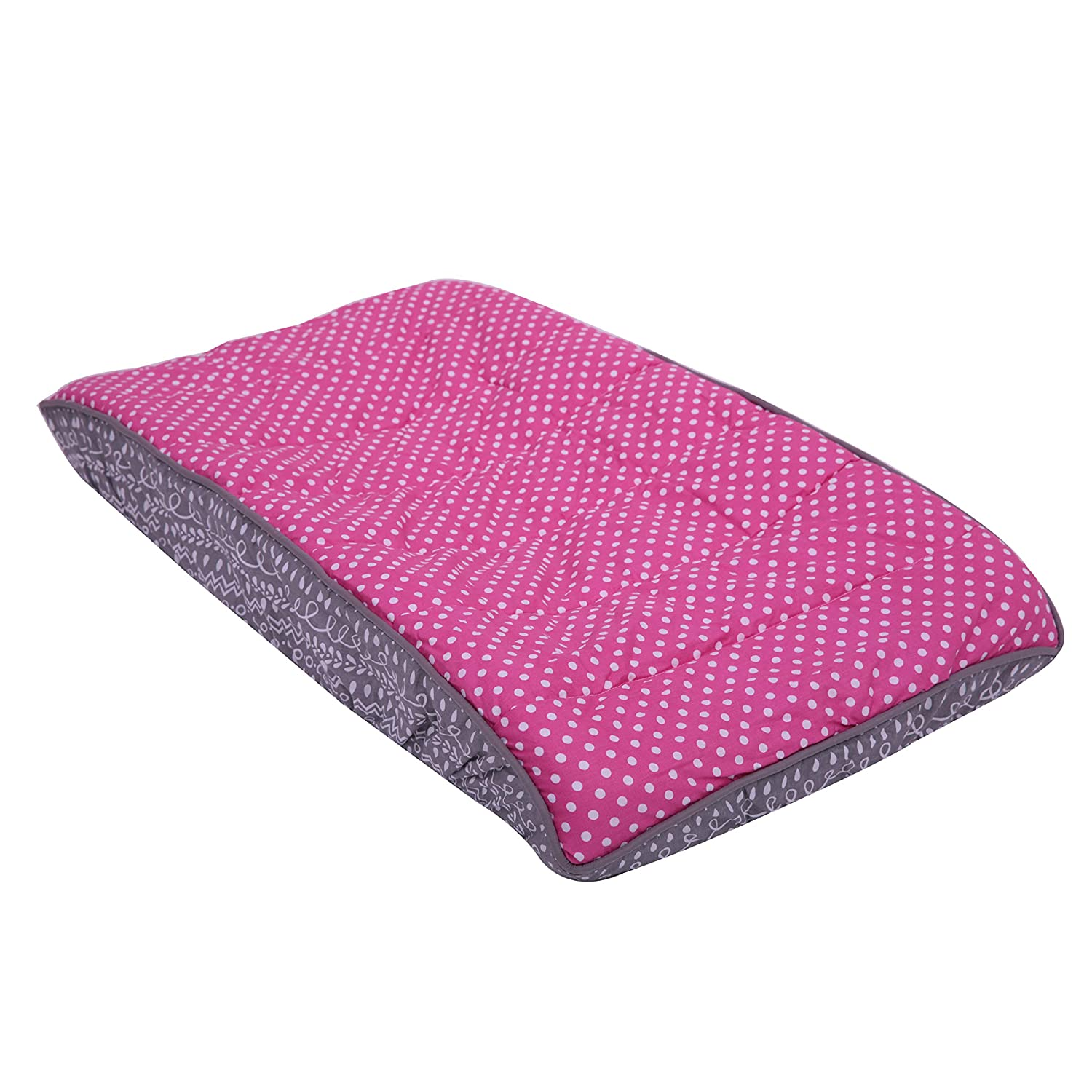 Bacati Owls Pink Dots Girls Cotton Changing Pad Cover, Pink/Grey