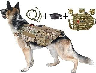 Tri Cloud Sports Dog Tactical Harness – 1000D Nylon Molle Vest Includes Leash | 3 Pouches | 3 Patches | Collapsible BPA Free Bowl