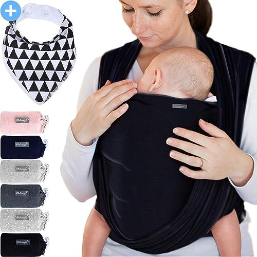 Makimaja - Écharpe de portage noir - porte-bébé de haute qualité pour nouveau-nés et bébés jusqu'à 15 kg - en coton d...