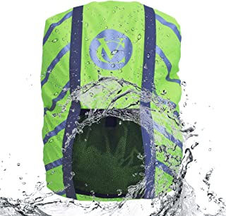 Velochampion High Visibility Backpack Cover HI VIS Hiking Camping Cycling Sports Fluorescent Green Reflective Strips Night Safety Vision Rucksack Bag 72L Large