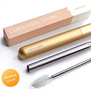 Eco-Pals | Collapsible Straw, Reusable Straws with Case Stainless Steel Metal Straws Folding Straw Drinking +1 Cleaning Brush (Rose Gold)