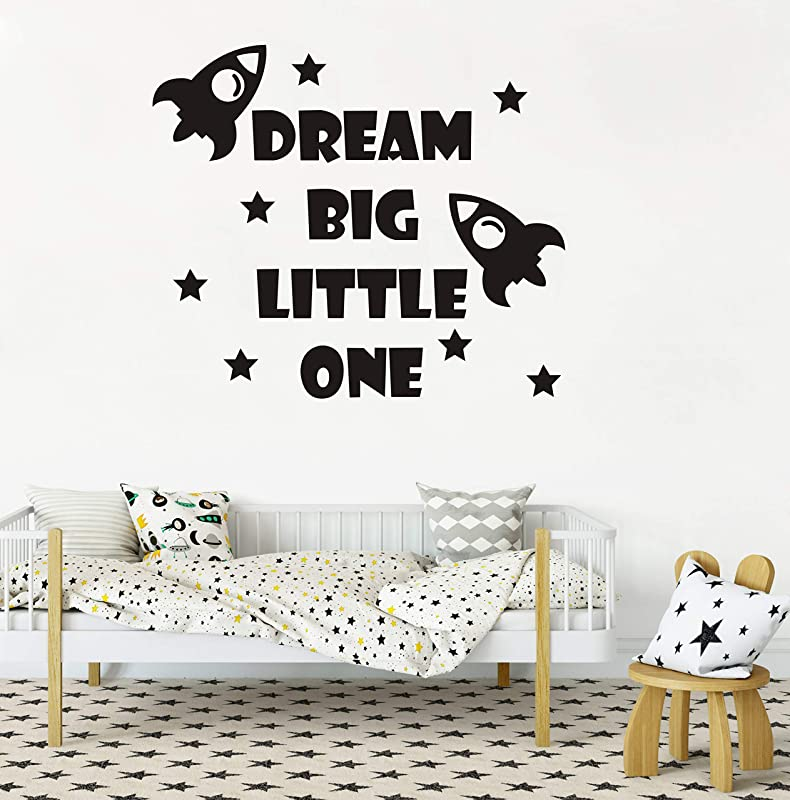 Quote Wall Decal Dream Big Little One Decal Baby Room Decor Rocket Decal Baby Boy Room Decor Space Wall Decal Nursery Wall Decals Y41 Black